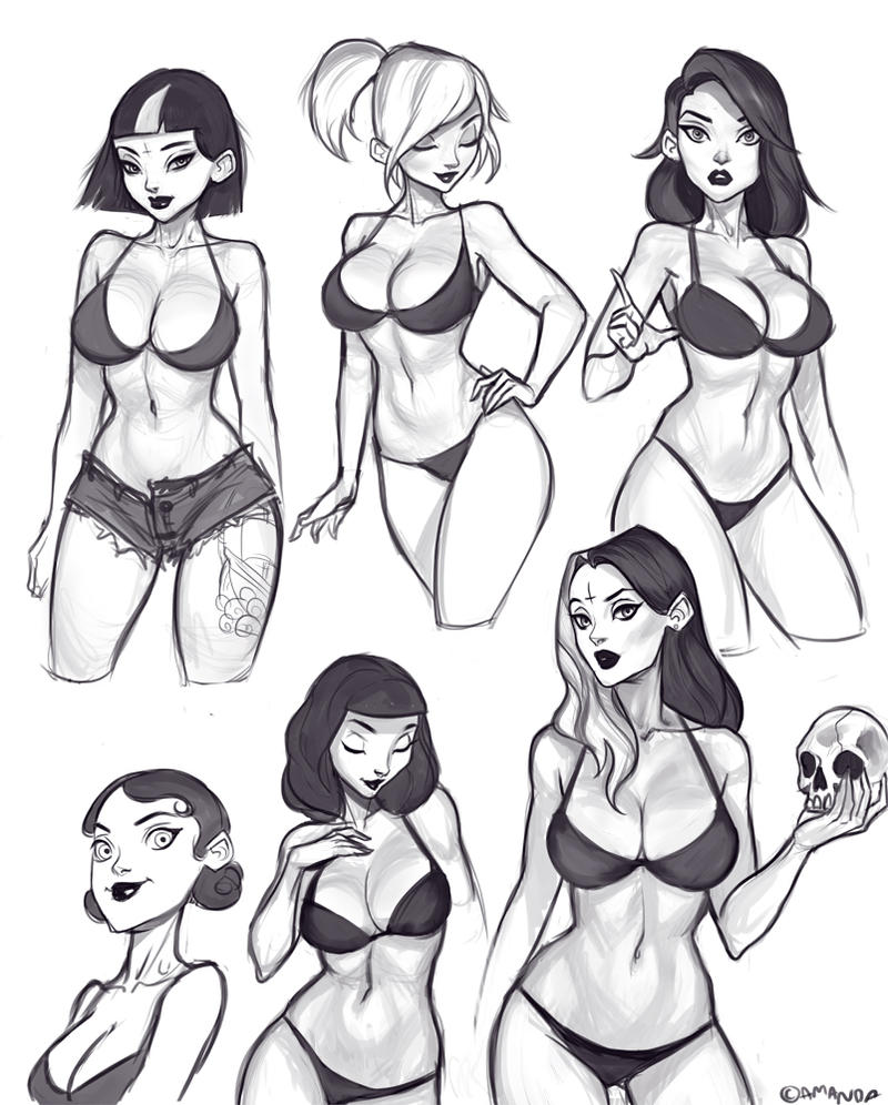 Sexy pin up girl sketches