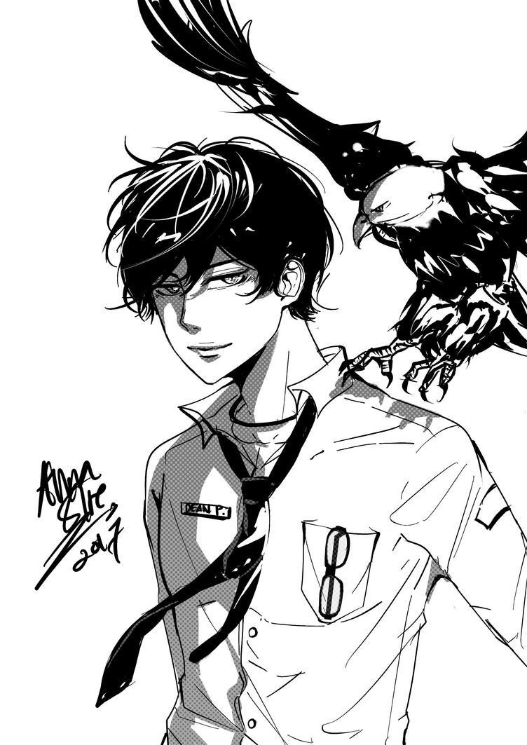 cool boy and bird by Desireqr49