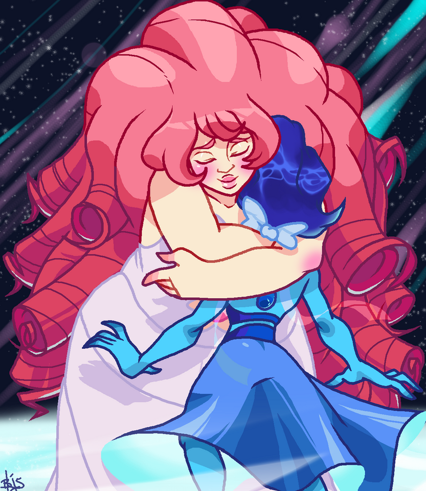 I want big space mom hugs for lonely ocean baby. Lapis Lazuli/Rose Quartz(c)Steven Universe