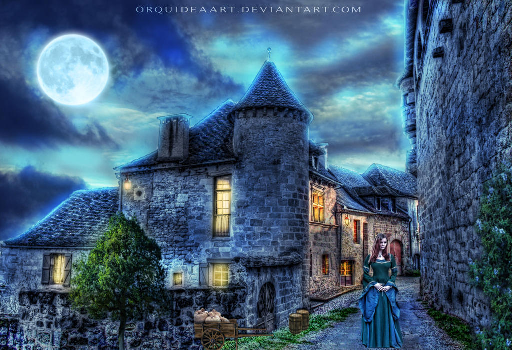 Night in the village by OrquideaArt