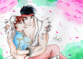 Ryu and Chun-li - Cherry Blossom Arcade Edition