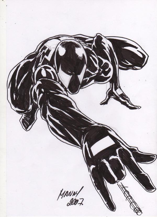 Black Spiderman Sketch By Mannyclark On DeviantArt
