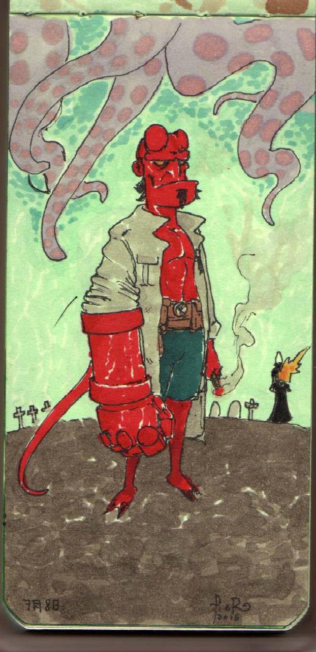 Hellboy Color Sketch by Pirs4x