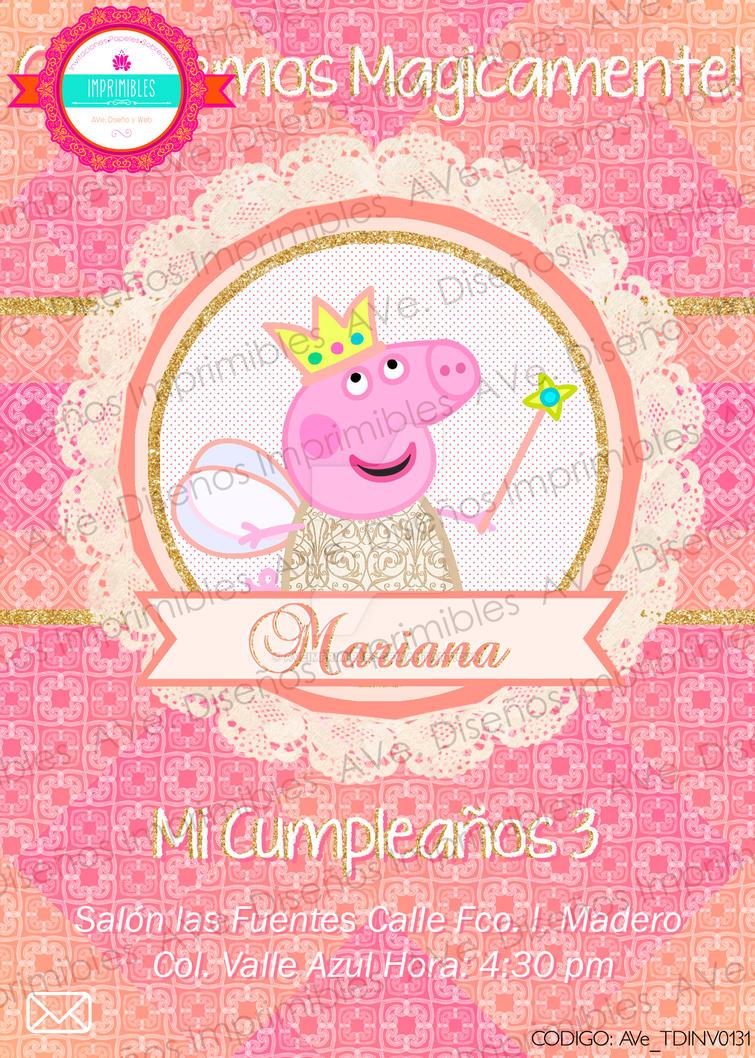 AVe. Invitacion Imprimible Peppa Pig Hada Coral by