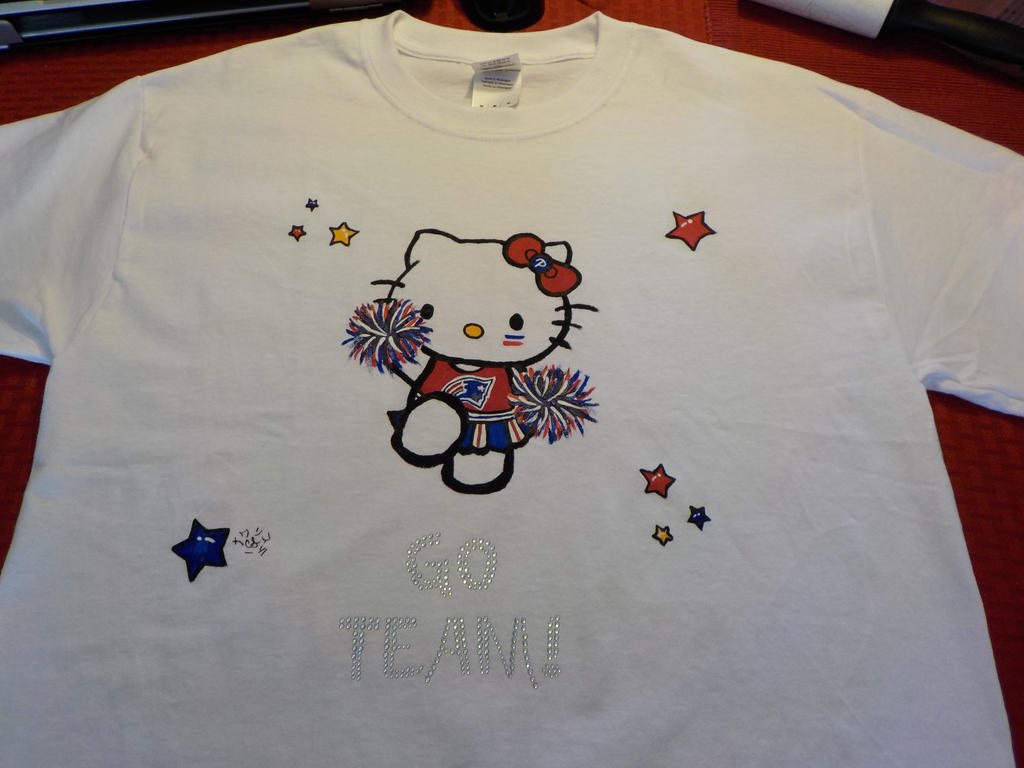 Patriots hello kitty t shirt by annacswhite on deviantart for Hello kitty t shirt design