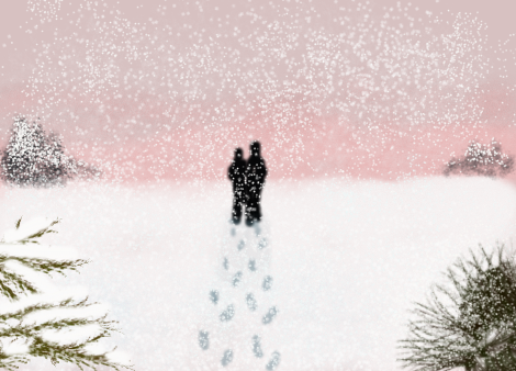 Footprints in the snow by peripiscean