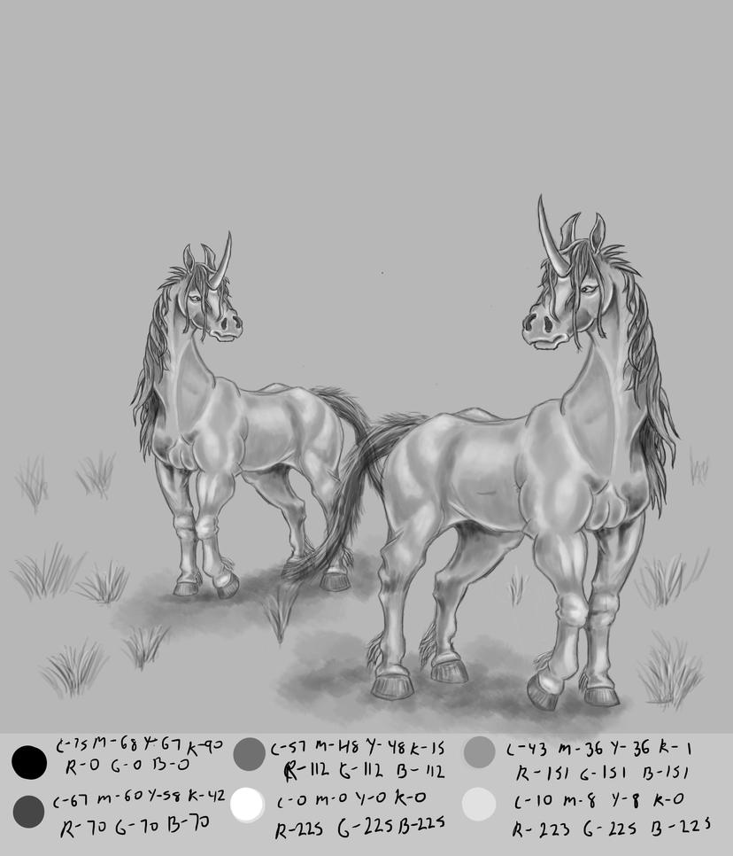Greyscale Unicorns by MontyBrush