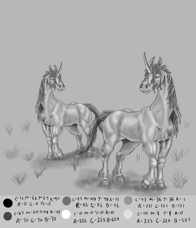 Greyscale Unicorns by MontyBrush