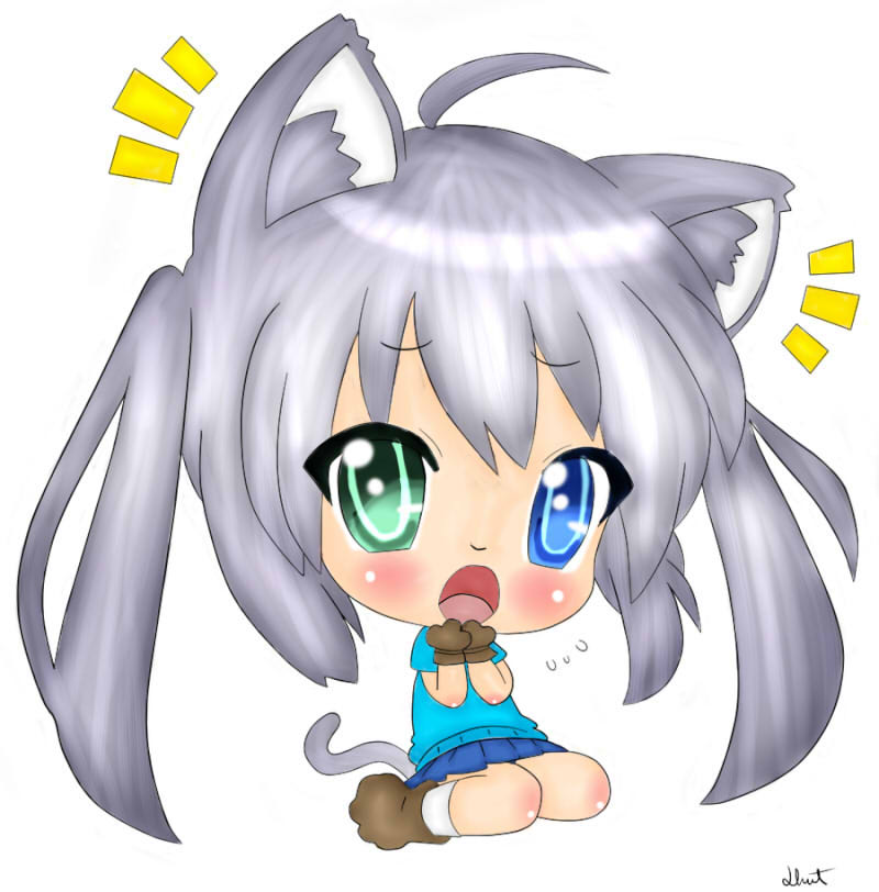 Cute Chibi Kitty Cute Chibi Cat Girl Line Artby
