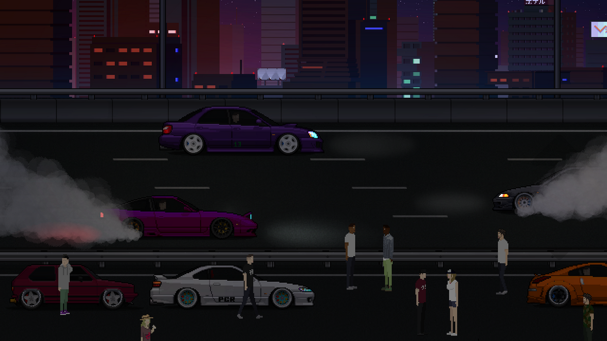 pixel car racer at night by 7anek on deviantart