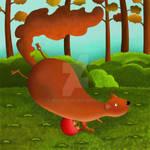 squirrel with acorns by rozalek