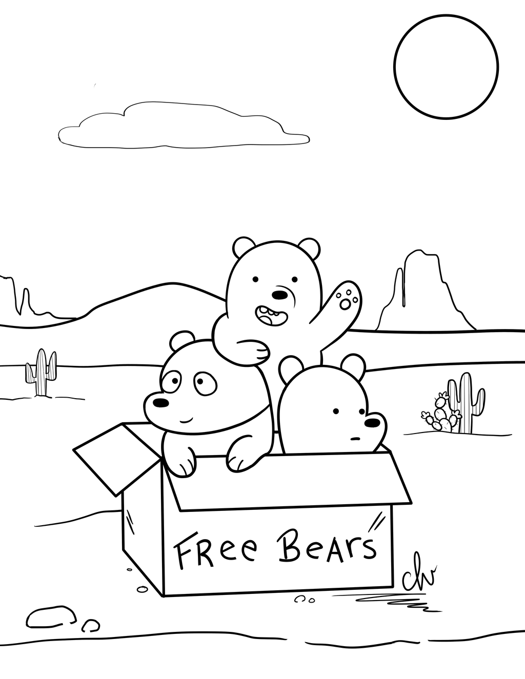 We Bare Bears Coloring Pages Printable