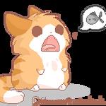 .FAT CAT HUNGRY. by kayteii-art