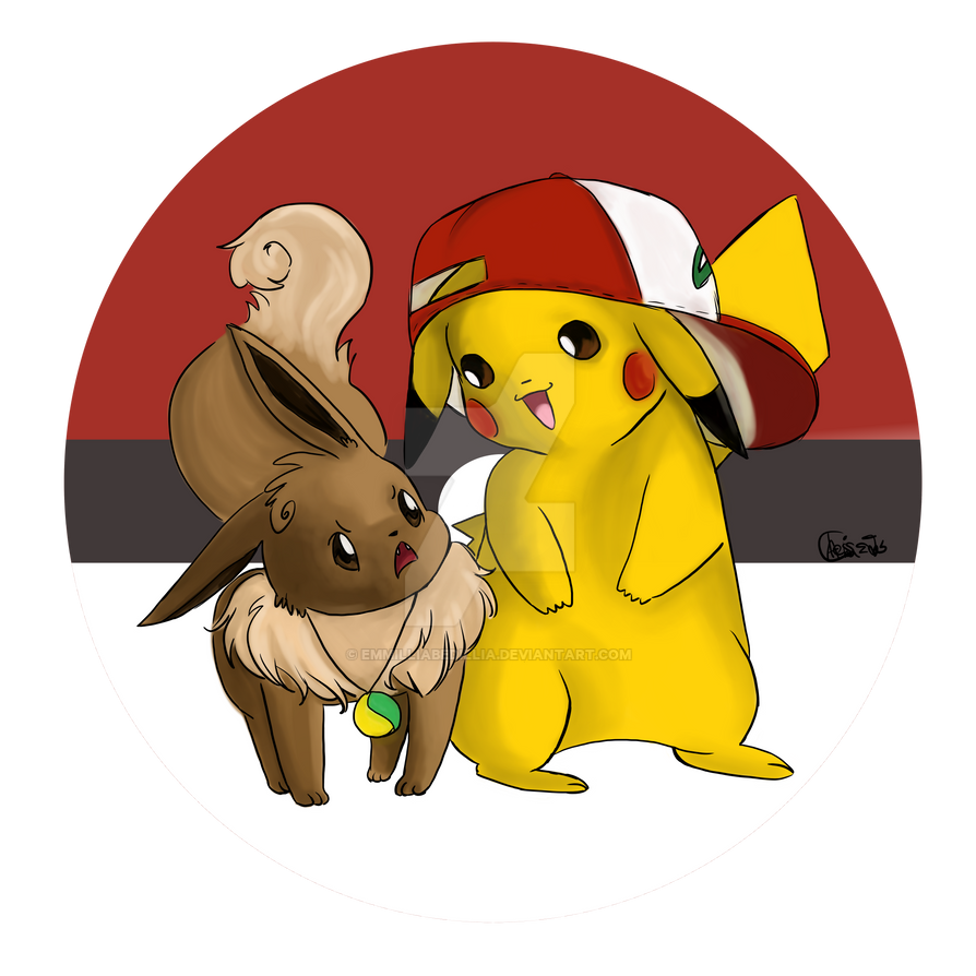 #025 and #133- Pikachu and Eevee by EmmilliaBedillia