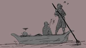 Corvo on a boat