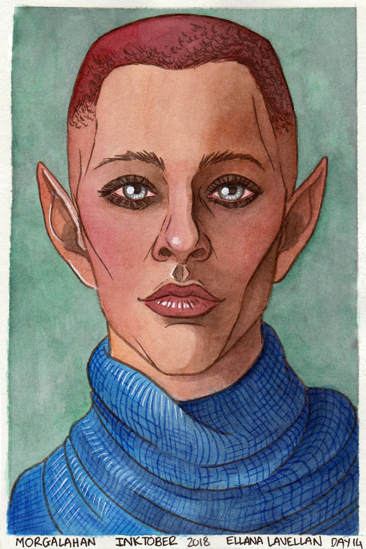 Inktober - Ellana Lavellan (Buttsonthebeach) by Morgalahan