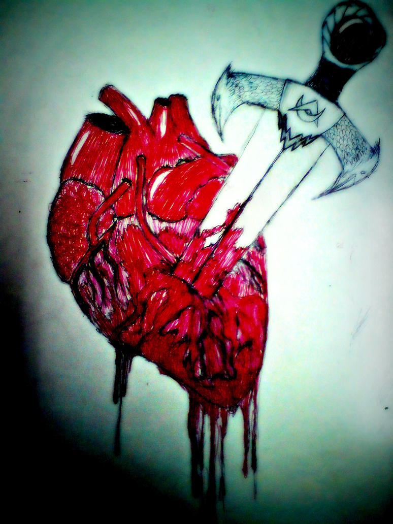 Realistic Knife In The Heart Drawing