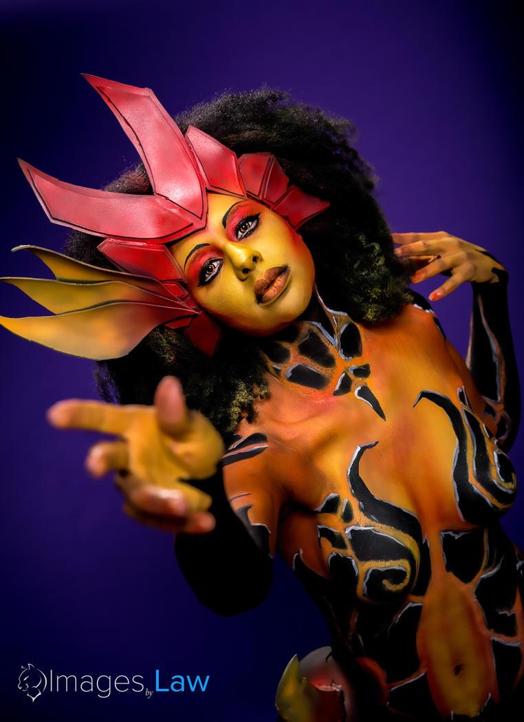 league of legends body paint: zyra wildfire by MakeupSiren
