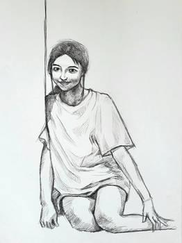 Sitting girl study