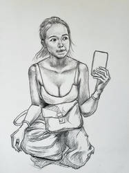 Staring girl study