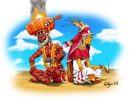 Xiuhtecuhtli y Chantico by Gibger