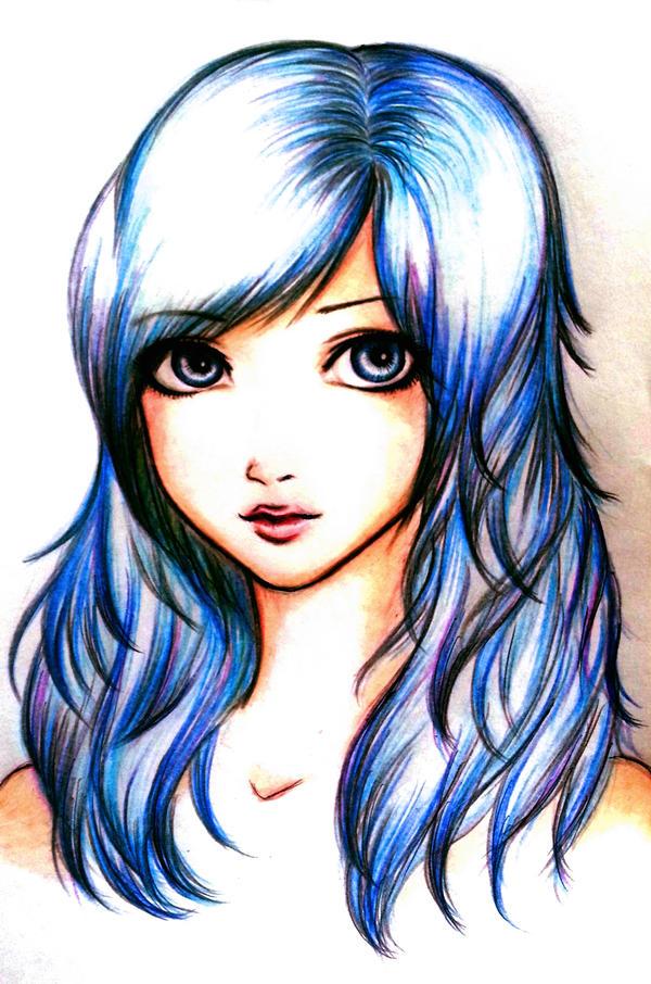 blue hair by Mikki7755
