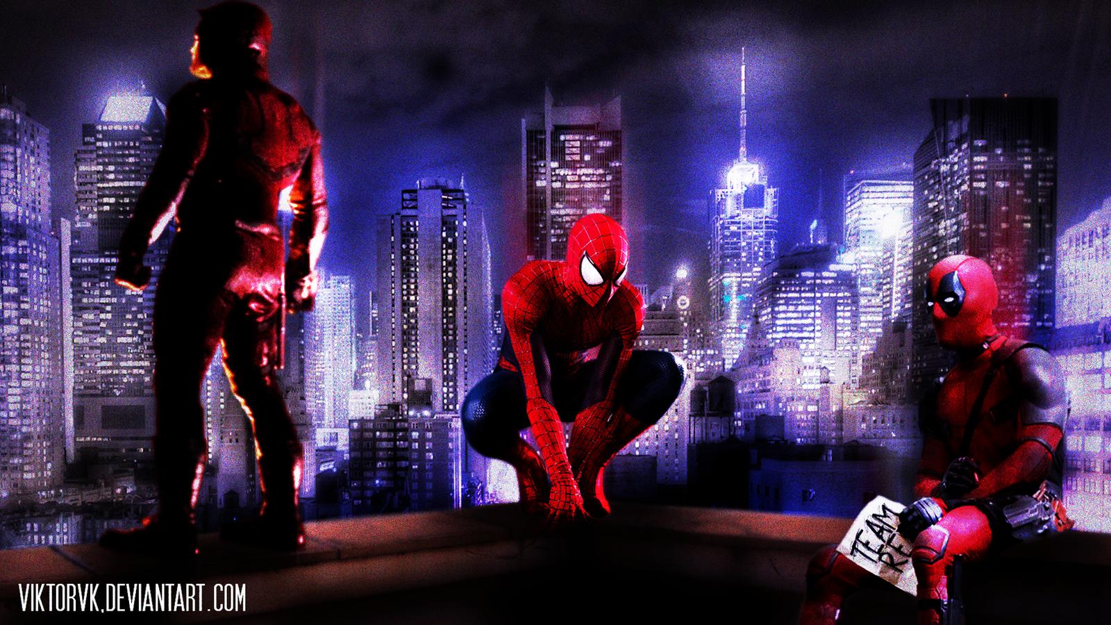 Team Red Daredevil Spider Man Deadpool By ViktorVK