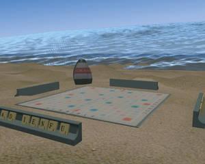 Crossword game on beach