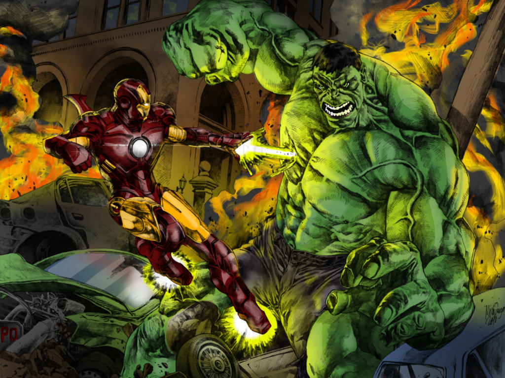 IRON MAN vs HULK color by CThompsonArt