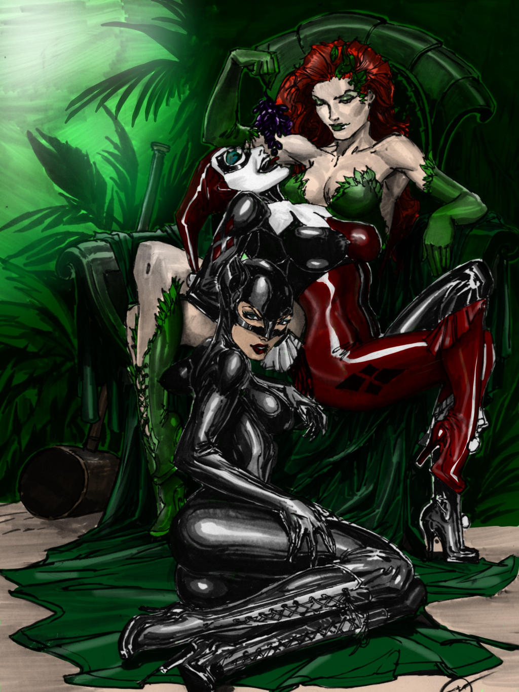 IVY, HARLEY AND CATWOMAN colors by CThompsonArt