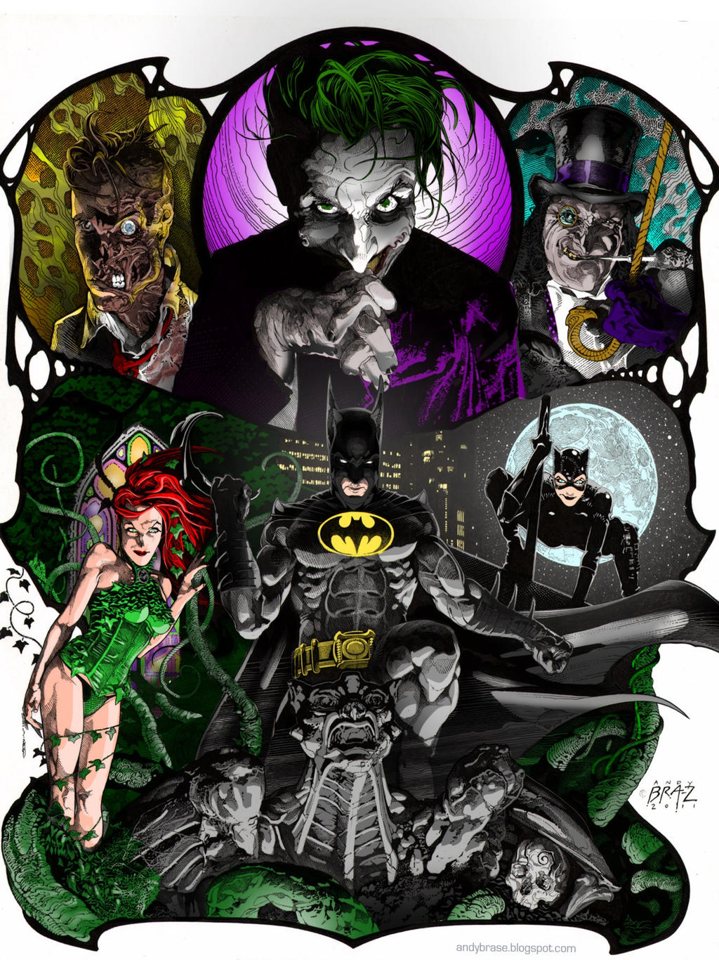 BATMAN AND FOES by CThompsonArt