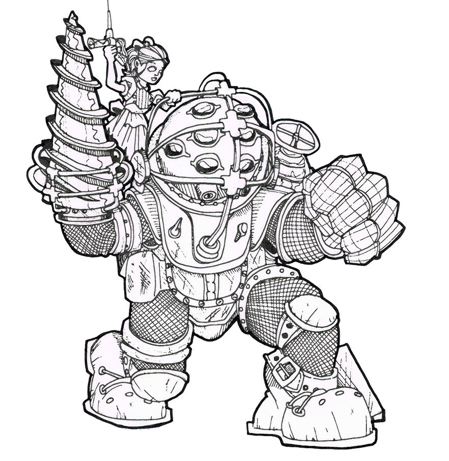 bioshock big daddy coloring page 1 coloring pages BioShock Drawings  Bioshock Coloring Pages