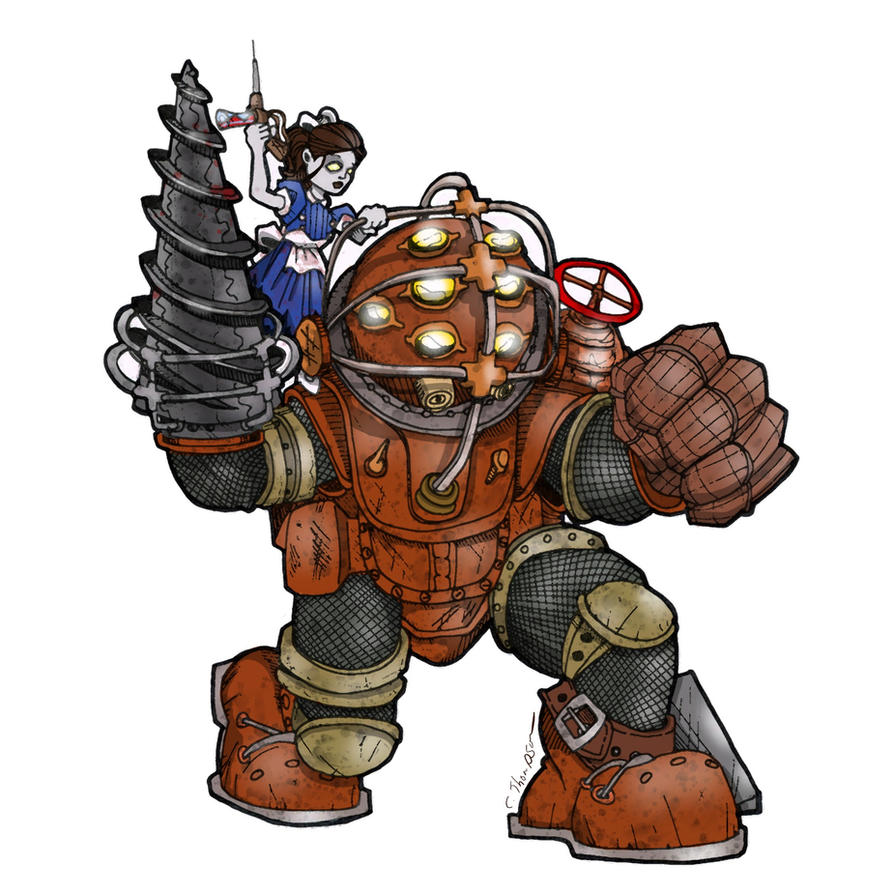 Bioshock big daddy and little sister by cthompsonart on for Big daddy s antiques