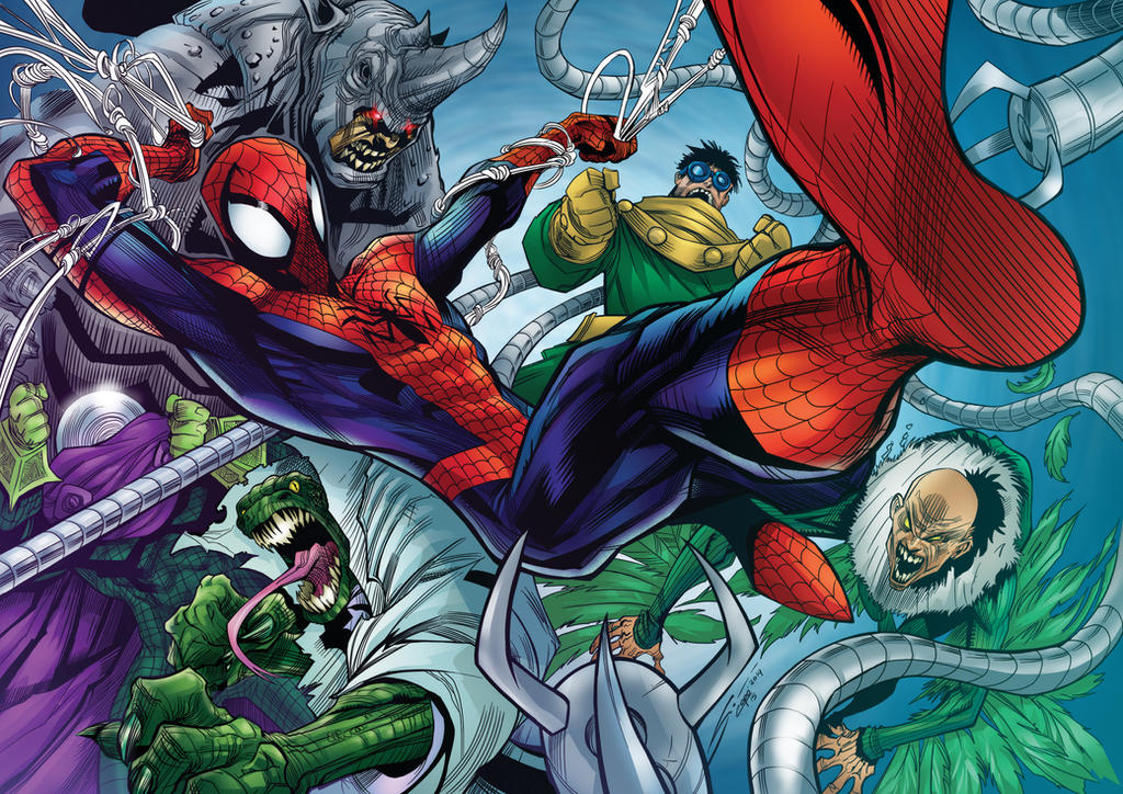 SPIDERMAN FOES - color by CThompsonArt