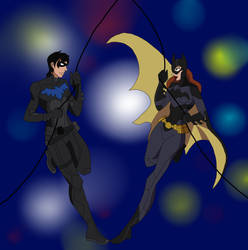 Nightwing and Batgirl by MeloYellowJellow