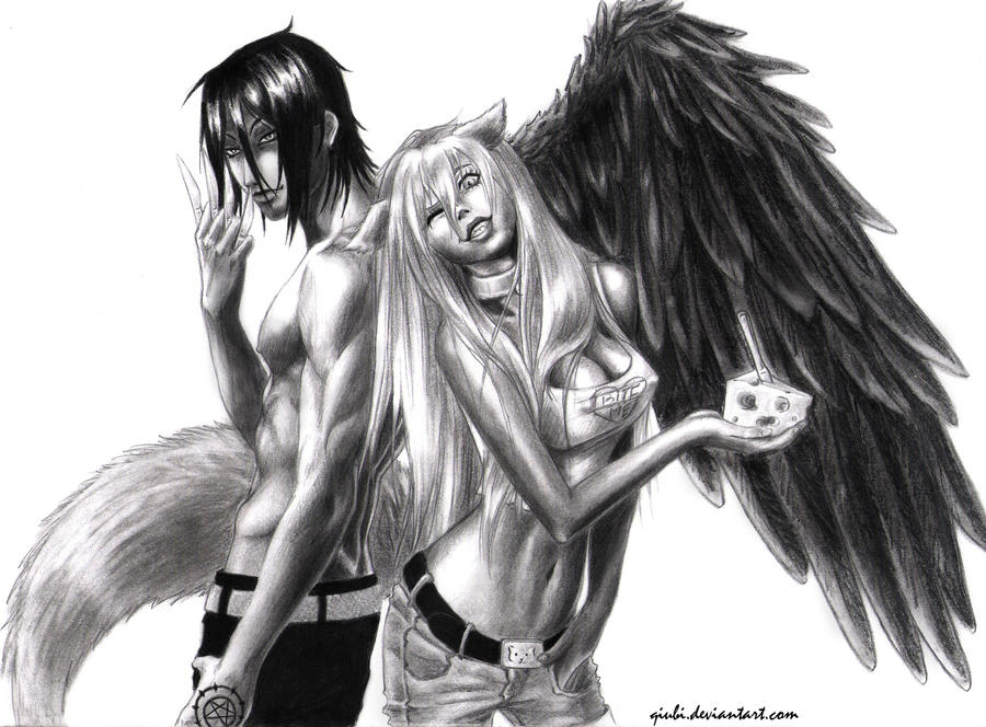 how to draw a male fallen angel