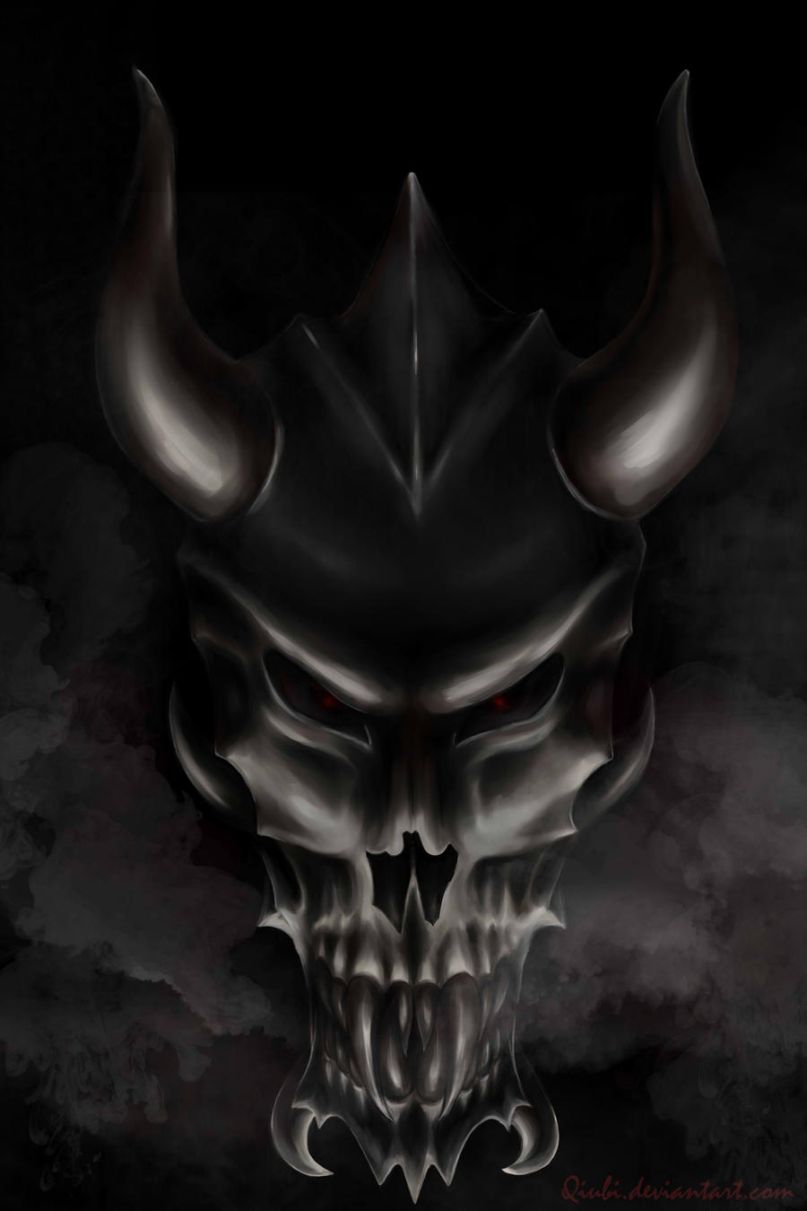 Devil dragon skull xd by qiubi on deviantart - Devil skull wallpaper ...