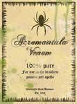 Acromantula Venom Potion Label
