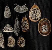 vegetable ivory with olive wood pendants 2