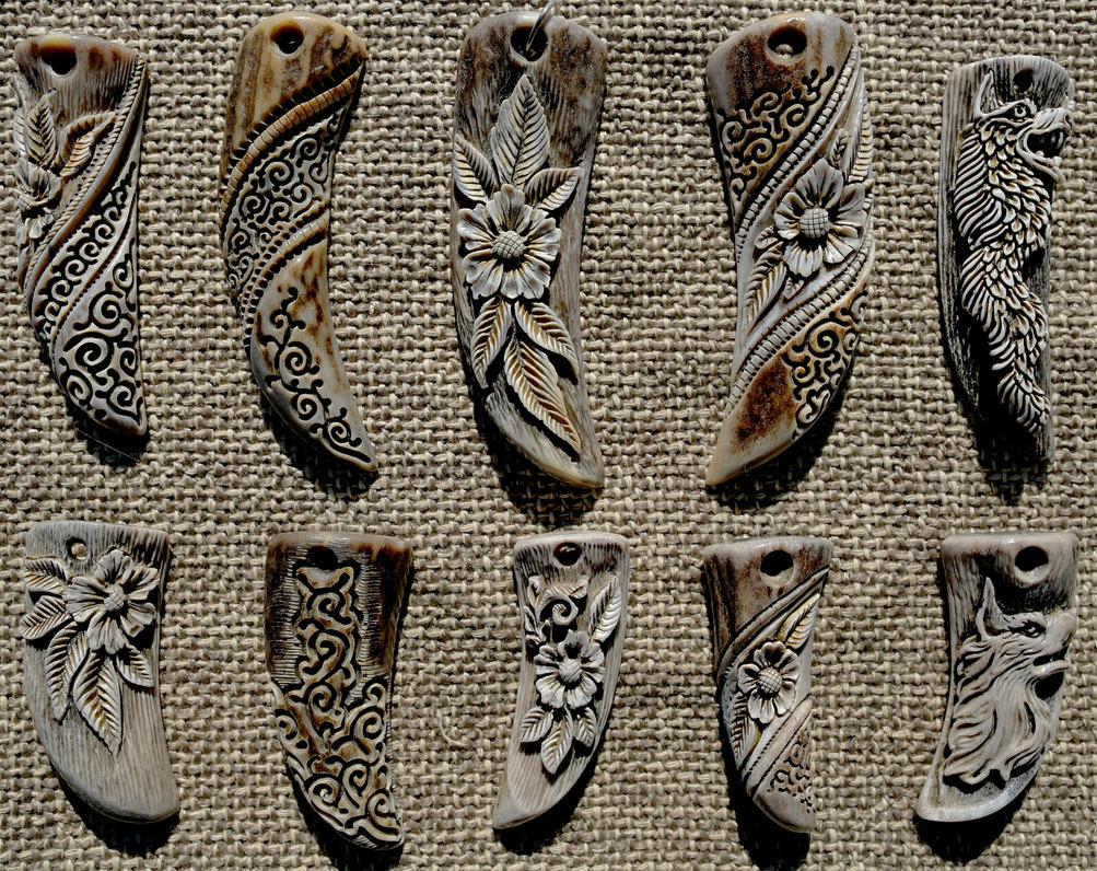 Antler pendants 1 by manuroartis