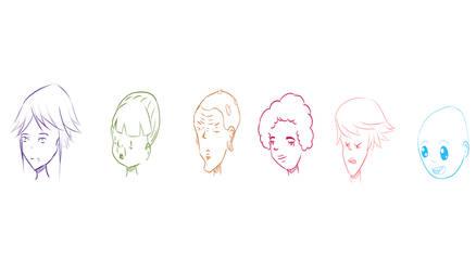 Head studies by O-kra