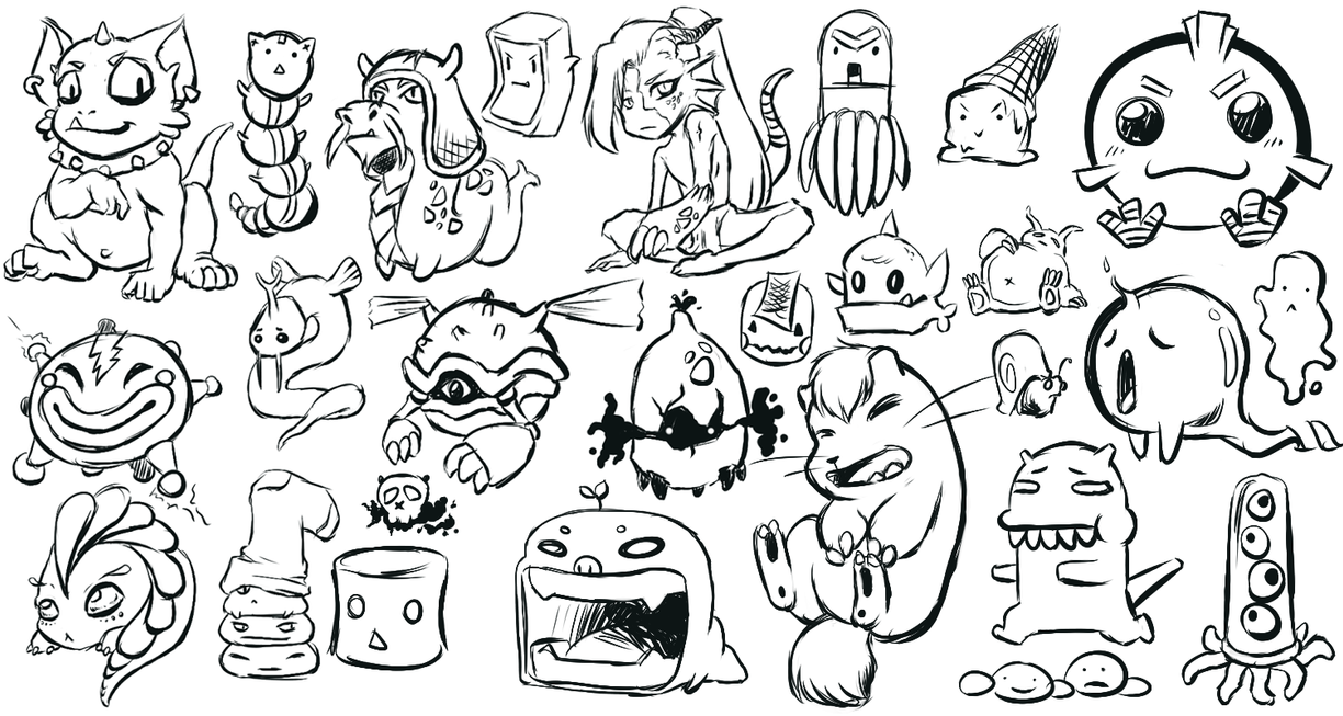 Cute Monster Challenge Sketches By Wangqr On DeviantArt