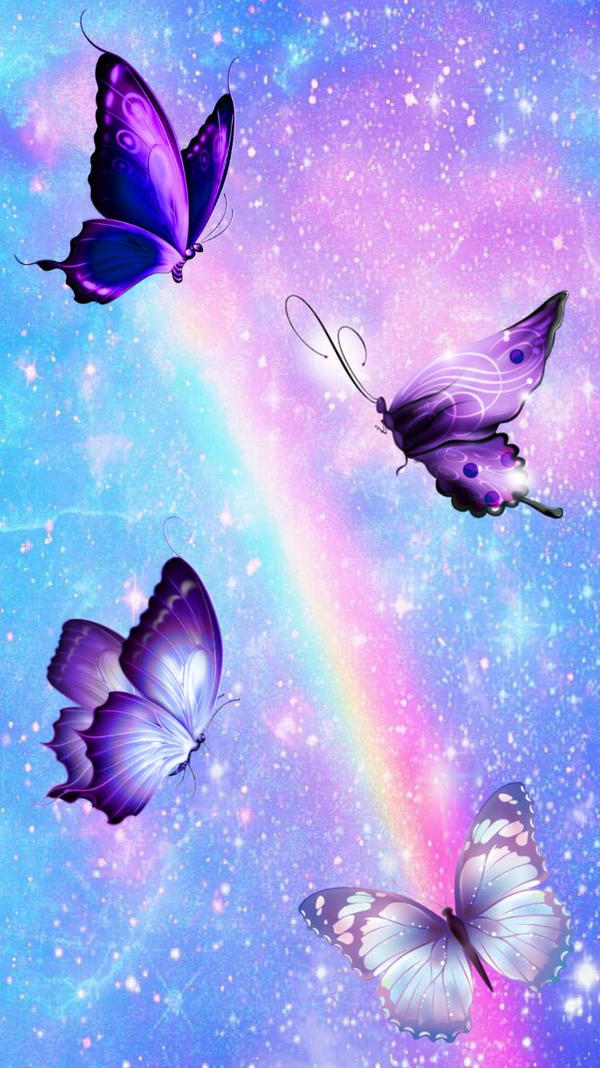 Rainbow Butterfly Wallpaper by Mochi-and-2P-Rose on DeviantArt