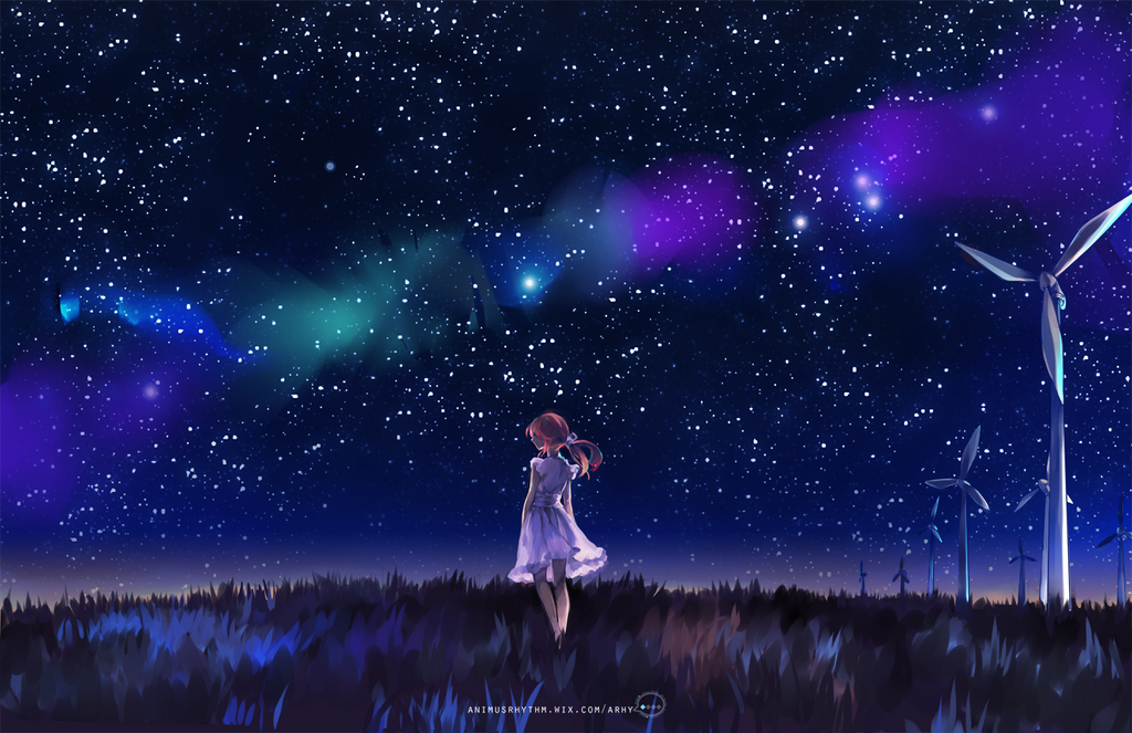grass field at night. Night Grass Field By OXMiruku At