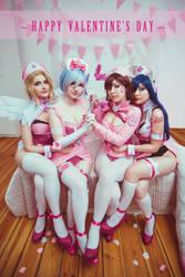 Happy Valentine's day! Mercy, Rem, Dva, Ahri