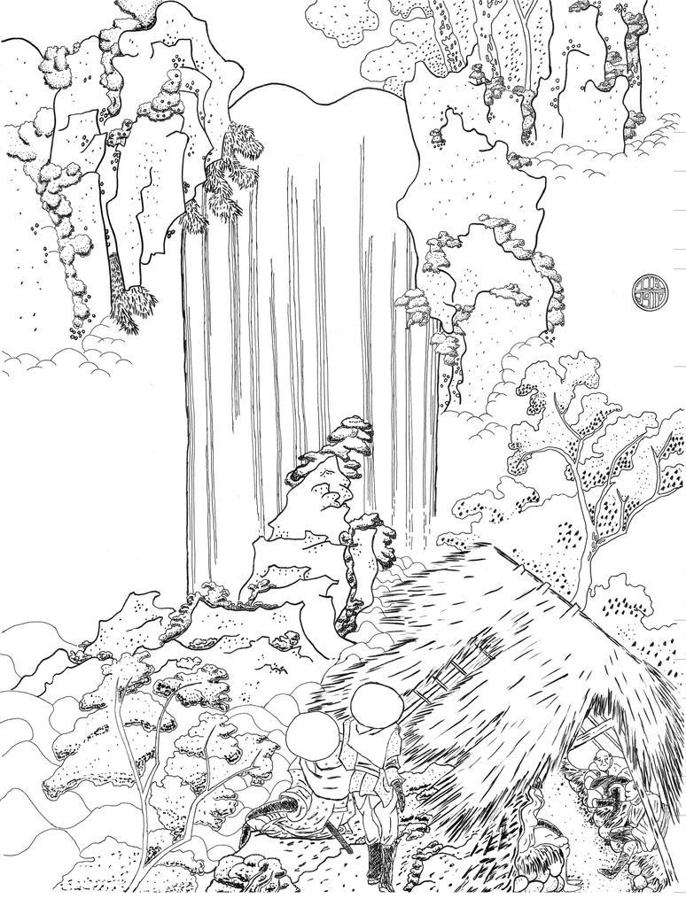Line Drawing Waterfall : Woodblock art waterfall by tibstudios on deviantart