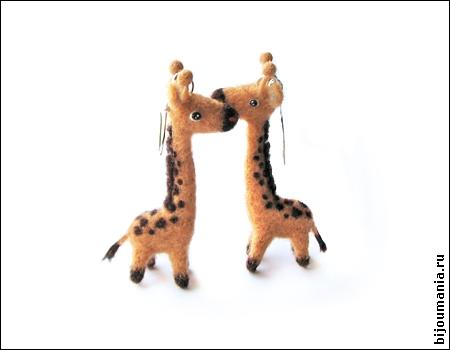 Earrings Two giraffes by allim-lip
