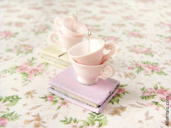 Romantic Pink Cups Earrings by allim-lip