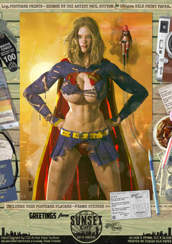 Supergirl Ripped'n'Torn 'Sunset City' Comic Print