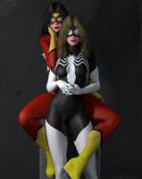 Jessica Drew and Julia Carpenter Spider Woman II by PaulSuttonArt